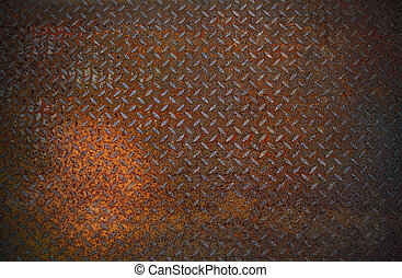 dirty and old rust diamond metal plate use for grunge...