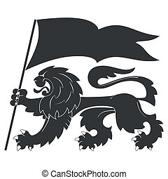 heraldic lion with flag - Black heraldic lion with flag