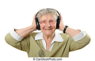 Senior woman with headphones isolated on white