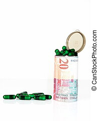Medical costs - Swiss francs - Conceptual image of medical...