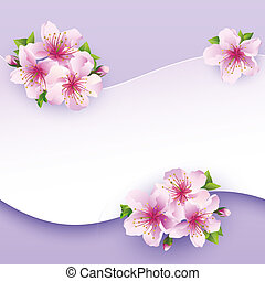 Floral background, greeting card with flower sakura Greeting...