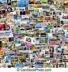 Collage of photos of a persons life in 1x1 ratio