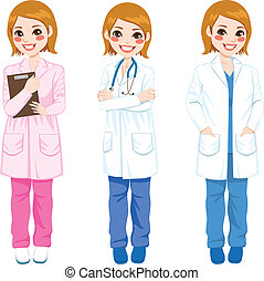 Female Doctor Posing - Beautiful young female doctor on...