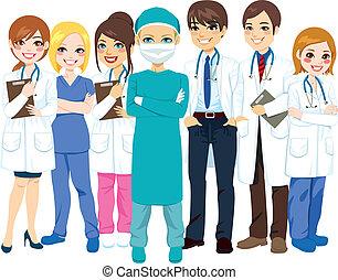 hospital, médico, equipo