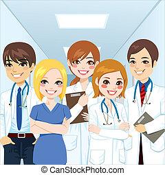 médico, equipe, profissionais