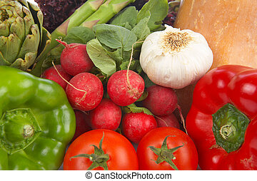 Fresh vegetables background - Various fresh and healthy...