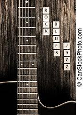 detalle, guitarra, señales, roca, melancolía,...