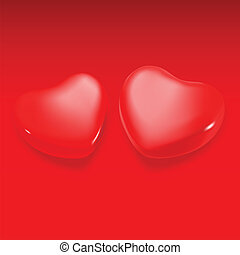 Two hearts on a red background. Vector. Illustration.
