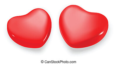 Two hearts on a white background. Vector. Illustration.