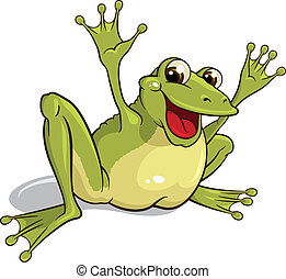 Frog - Illustration of a smiling frog isolated on a white...