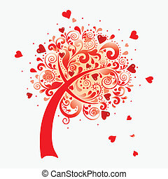 Vector illustration of a love tree. Valentines postcard.