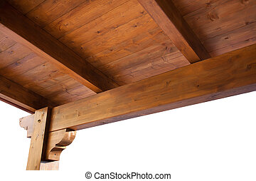Wooden porch roof view from inside isolated on white...