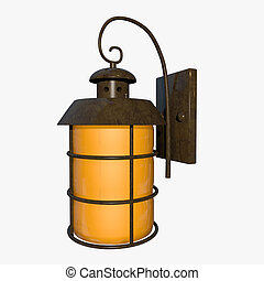 Outdoor lamp isolated on white background