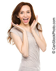 Portrait of a young surprised woman, isolated over white