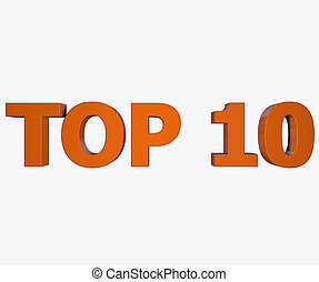 Top 10 text isolated on white background