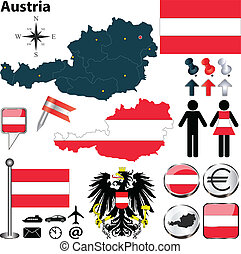 Map of Austria - Vector set of Austria country shape with...