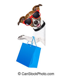 shopaholic shopping dog - shopping dog holding a blue...