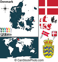 Map of Denmark - Vector map of Denmark with regions, coat of...