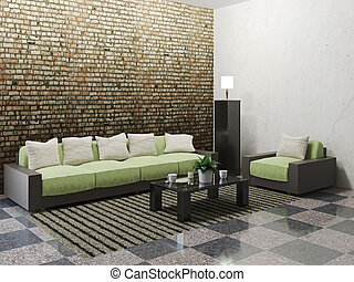 Minimalist livingroom with sofa and armchair