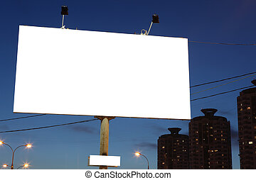 empty roadside city billboards at evening in city - empty...