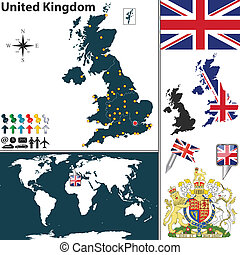 Map of United Kingdom - Vector map of United Kingdom with...