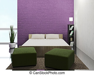 Room interior with bed and poufs