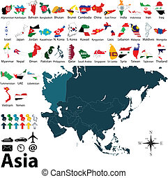 Political maps of Asia - Vector political maps with flags of...