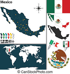 Map of Mexico - Vector map of Mexico with regions, coat of...
