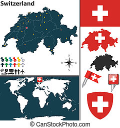 Map of Switzerland - Vector map of Switzerland with regions,...