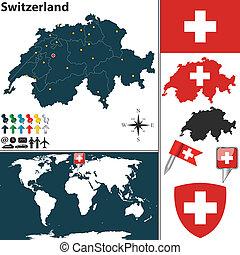 Map of Switzerland - Vector map of Switzerland with regions,...