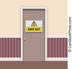 Keep Out - Illustration of a door with a keep out sign