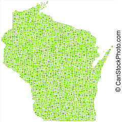 Isolated map of Wisconsin - USA - - Decorative map of...