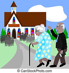 Seniors going to church - Two seniors on their way to the...