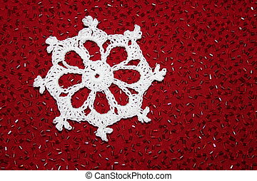 Christmas Crochet Lace Snowflake - Closeup of crochet lace...