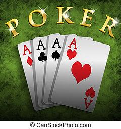 Poker - Illustration of poker cards on the poker table.