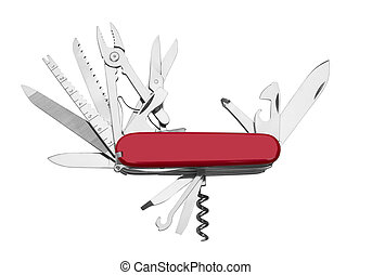 Red Army Knife multi-tool, isolated on white background