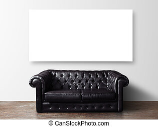 sofa and poster - black leather sofa in room and blank...