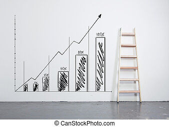 drawing chart on wall with wooden  ladder