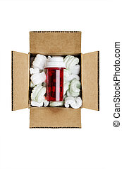 Mail order medicine - Pill bottle in a box with packaging...