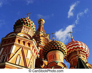Cathedral of Vasily the Blessed, Moscow, Russia - Close up...