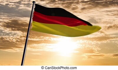 Germany Flag, HQ animated, sunset - ready to use animation...