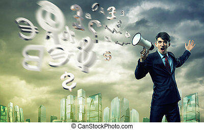 businessman shouting into a megaphone, the concept of...