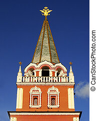 Red Square Gate Tower, Moscow, Russia - Close up of Red...