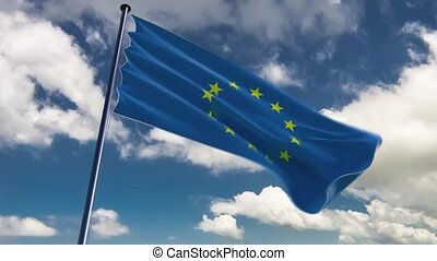 EU Flag, HQ animated, neutral - ready to use animation of...