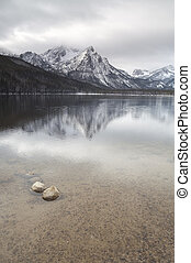 Lake Stanley Idaho Sawtooth Mountain Range Northern Rockies...