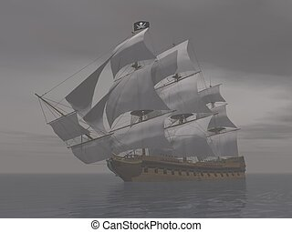 Pirate ship in fog- 3D render - Pirate ship holding black...