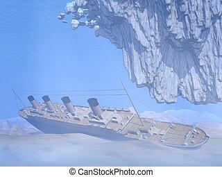 Titanic ship - 3D render - famous Titanic ship floating on...