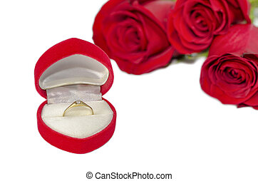 Romantic Gift - Diamond ring in box on red heart shape with...