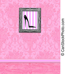 Boudoir Wall of Pink Damask - Pink damask room with framed...