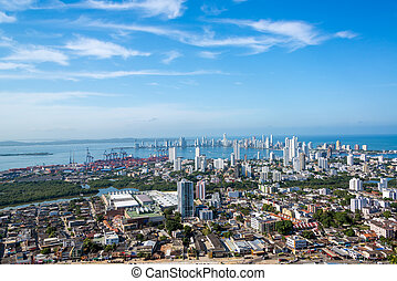 Cartagena Panorama - Panoramic view of the modern section of...